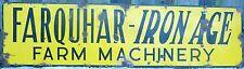 Antique FARQUHAR - IRON AGE FARM MACHINERY Porcelain Sign early 1900s *RARE lrg