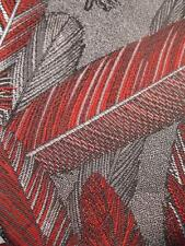 Mens Necktie Red & Silver Feathers Oscar De La Renta Shiny Polyester Silk (O)