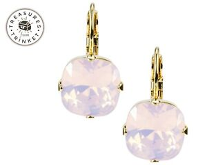 Swarovski Element Handmade Leverback Earrings ROSE WATER OPAL PINK Nickel Free