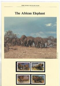 UGANDA 1983 WWF ELEPHANTS SET MNH. + 4 FDC'S. SG. 406 - 409. (1475)