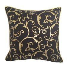 "Satin/Lame Spiral 18""x18"" Black/Gold Decorative/Throw Pillow Case/Cushion Cover"