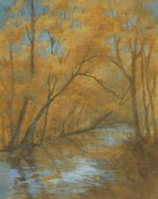 """River Lights"" Debra Sepos original oil 8"" x 10"" golden fall trees of autumn"