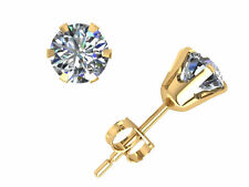 1.25ct Round Cut Diamond Solitaire Stud Earrings 18k Yellow Gold 6 Prong