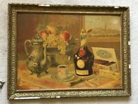 Antique Print Louis Tauzin Framed French Benedictine Advert Still Life Vintage