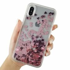 For iPhone X Clear Floating Hearts Liquid Waterfall Bling Glitter Cover Case
