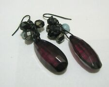 blue and black approx 4 cm long Lovely dangle style beaded earrings deep red