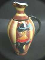 RETRO ITALIAN POTTERY  HAND PAINTED JUG WITH SEXY LADY W HAT 1950'S