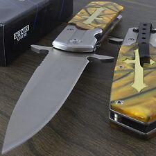 "9.5"" AMBER CELTIC CROSS SPRING ASSISTED FOLDING POCKET KNIFE Gothic Open Assist"