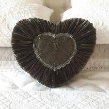 Shabby French Country Heart Velvet Dark Charcoal Grey Lace Bed Sofa Cushion