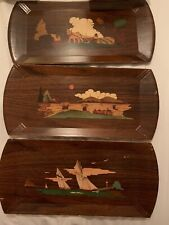 Vintage 1950's Set of 3 Hasko Wooden Lap Trays made by Haskelite Mfg Corp.