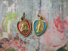 Vintage Catholic Medal lot of 2 SACRED HEART of JESUS & MIRACULOUS heart enamel