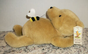 """Gund Classic Winnie The Pooh Disney Laying Down Plush With Bee New W Tags 10"""""""
