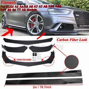 Carbon Fiber Front Bumper Lip Spoiler Chin Splitter +78.7'' Side Skirts For AUDI