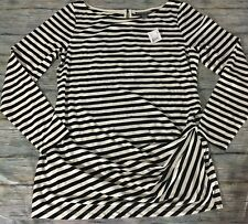 A Pea In The Pod Knit Top Maternity Black White Striped Gathered-Side Large