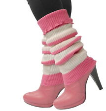 ONE PAIR Women Crochet Knit Leg Warmers PINK WHITE Striped Winter Boot Toppers