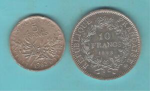 LOT DE 2 MONNAIES  10 FRANCS HERCULE EN ARGENT 1968  5 FRANCS ARGENT1963  SEMEUS