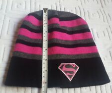 Supergirl Beanie Black and Pink Stripes fall winter Hat • pre-owned • nice  cond 6e336d4000be