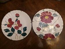 "Southern Potteries Inc. Blue Ridge Handpainted Colonial 2 Plates W/HANGERS 9.25"""