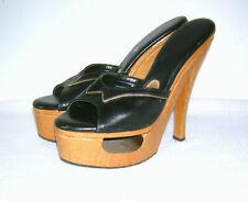 Vintage 1970s Frederick'S Of Hollywood Wooden Platforms Heels Pinup Rockabilly