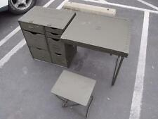US Military Green Headquarters GI Wood Field Desk & 2 Seats, Military Surplus