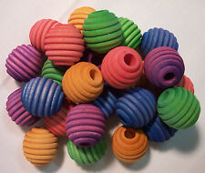 "25 Bird Toy Parts Colored Wood Beads Wooden 1"" Large Beehive Beads w/Hole"