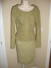 STUNNING NEW $6,500 GUCCI RUCHED SUEDE JACKET & SKIRT OUTFIT