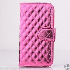 """Metallic Pink Stitched Wallet Case Credit Card Slots & Stand for iPhone 6 4.7"""""""