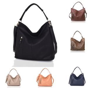 Womens Large Slouch Vegan Leather Zip Pocket Shopper Tote Handbag Shoulder Bag