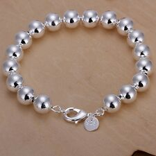 nice sterling silver plated 10mm Beads chain women fashion Bracelet Jewelry