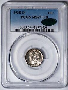 1938-D Mercury Dime PCGS MS67+FB *CAC-Verified* Premium Gem+, Full Bands!