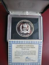 Turks & Caicos Islands 1977 Silver Proof 25 Crowns Coin COA Card Cased