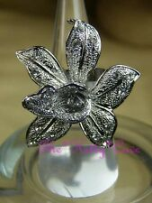 Textured Silver Calla Lily Orchid Flower Floral Bloom Ring w/ Swarovski Crystals