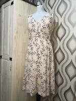 Laura Ashley Pale Pink Floral Tiered Prairie Dress Size 14 Special Occasions