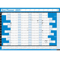 2019 Annual Wall Planner Calendar Year Yearly Plan Chart NON-LAMINATED BLUE