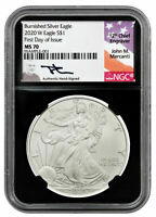 2020 Burnished Silver Eagle FDOI NGC MS70 John Mercanti Hand Signed