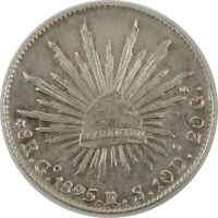 1895 MEXICO 8 REALES SILVER - Go RS  KM# 377.8 - NICE AU CONDITION! (11212013)