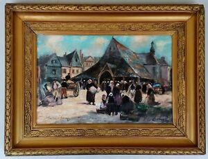 tableau huile sur toile paysage marché à AURAY en BRETAGNE signé F . LE CALVEZ