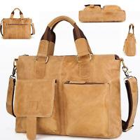 Genuine Cowhide Leather Shoulder Messenger Bag Vintage Military Travel Satchel