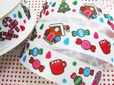 "10 yards Gingerbread House Candy Grosgrain 7/8"" Ribbon/Christmas/Holiday RY-18"