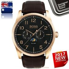 New Hugo Boss Mens Heritage Watch Rose Gold Brown Leather Moon Phase 1513468 Mel