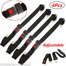 4x 2 Point Retractable Adjustable Auto Car Van Safety Seat Lap Belts Harness Kit