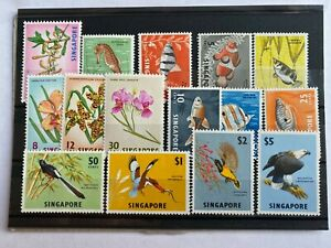 Singapore, 1962 Orchids, fish and birds, set of 15, SG 63-77 Most MNH