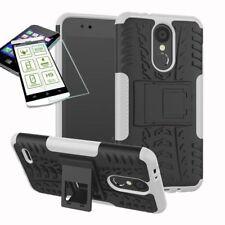 Für LG K9 2018 Hybrid Case Tasche Outdoor 2teilig Weiß Hülle + 0,26mm H9 Glas