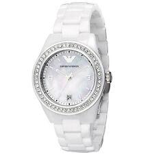 Emporio Armani AR1426 Ceramica Swarovski White Silver Chrono Ladies Watch Nuevo