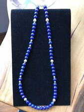 18'' lapis and sterling bead Navajo necklace