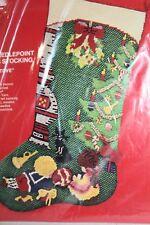 Vintage Bucilla Christmas Needlepoint Painted Stocking Kit 16''  #60344 Rare