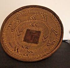 African Tonga Large Hand Woven Basket Tribal Art Molala Zambia Vtg