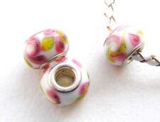 European Beads Modulperlen weiß/rose 2 Stück SERAJOSY