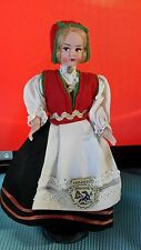 "Vintage Hardanger Norway Handpaint Costume Doll 7 "" Tags Made in Italy"