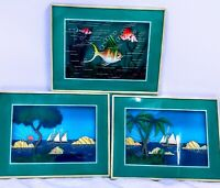 Vintage Set of 3 Pictures Shadow Box Diorama Framed